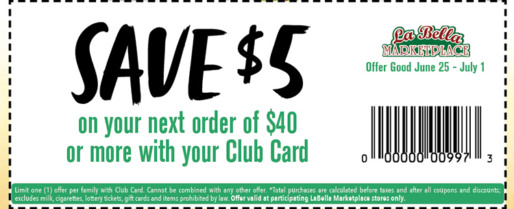 a coupon with text reading, save $5 on your next order of $40 or more with your club card. Offer good 6/25/21 thru 7/01/21